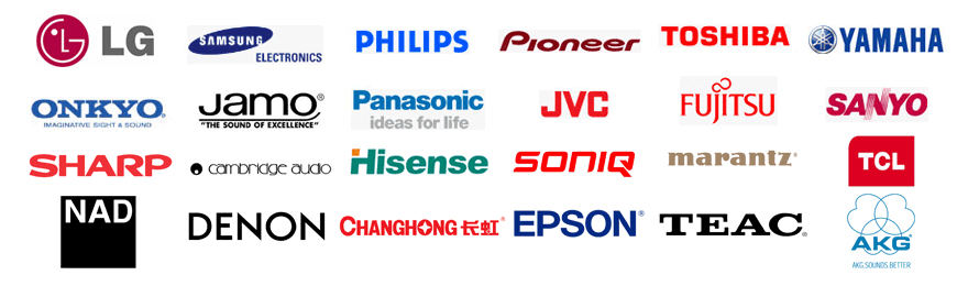 List of icons including AKG Audio Research  Boston Cambridge Audio Changhong Denon Epson Fujitsu HiSense Jamo JVC LG Marantz NAD Onkyo Panasonic Philips Pioneer Samsung Sanyo Sharp Soniq TCL TEAC Toshiba Yamaha